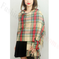 Cashmere Feel Plaid Z8 Shawl Beige