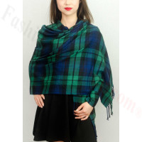 Cashmere Feel Plaid Z8 Shawl Green