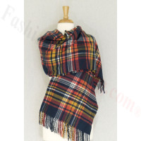 Cashmere Feel Plaid Shawl Navy Multi