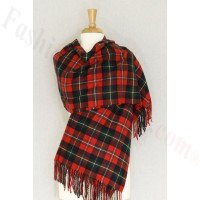 Cashmere Feel Plaid Shawl Red / Green