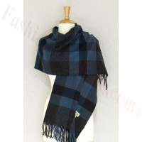 Cashmere Feel Plaid Shawl Dark Grey / Blue