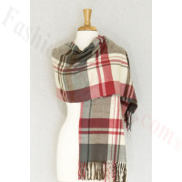 Cashmere Feel Plaid Shawl Grey / Red