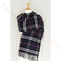 Cashmere Feel Plaid Shawl Navy / Pink