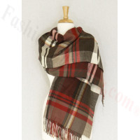 Cashmere Feel Plaid Shawl Brown / Red