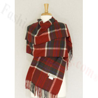 Cashmere Feel Plaid Shawl Dark Grey / Red