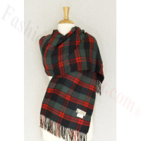 Cashmere Feel Plaid Shawl Dark Green / Red