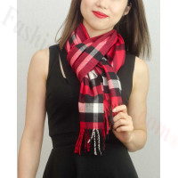 Woven Cashmere Feel Plaid Scarf Z01 Red