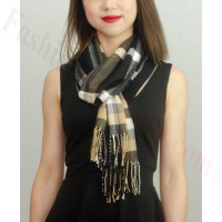 Woven Cashmere Feel Plaid Scarf Z01 Beige/Black