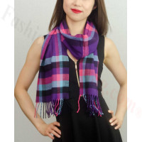 Woven Cashmere Feel Plaid Scarf Z01 Purple