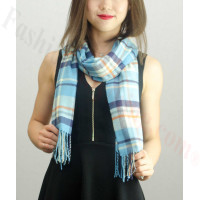 Woven Cashmere Feel Plaid Scarf Z02 Light Blue