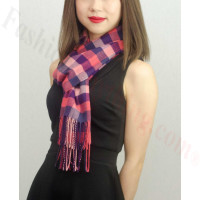 Woven Cashmere Feel Checker Scarf Z03 Pink Multi Color