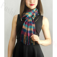 Woven Cashmere Feel Checker Scarf Z03 Multi Color
