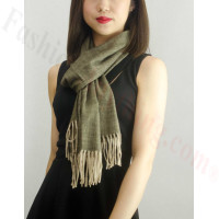 Woven Cashmere Feel Special Design Scarf Z04 Brown