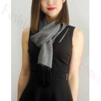 Woven Cashmere Feel Plaid Scarf Dark Grey