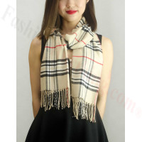 Woven Cashmere Feel Classic Scarf Light Beige