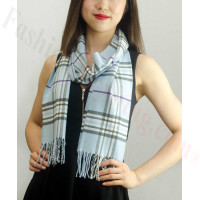 Woven Cashmere Feel Classic Scarf Light Blue