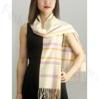 Woven Cashmere Feel Plaid Scarf Z08 Cream/Pink