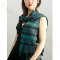 Woven Cashmere Feel Plaid Scarf Z08 Dark Green