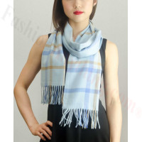 Woven Cashmere Feel Plaid Scarf Z08 Light Blue
