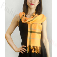 Woven Cashmere Feel Plaid Scarf Z08 Orange