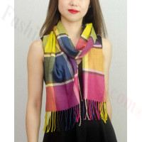 Woven Cashmere Feel Plaid Scarf Multi Color