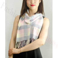 Woven Cashmere Feel Checker Scarf Z12 Pink Multi Color