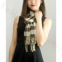 Woven Cashmere Feel Checker Scarf Z12 Brown