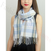 Woven Cashmere Feel Plaid Scarf Z16 Light Blue