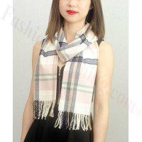 Woven Cashmere Feel Plaid Scarf Z16 Pink