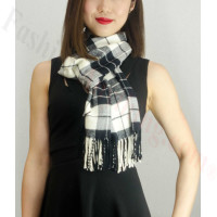 Woven Cashmere Feel Plaid Scarf Z16 Black/White