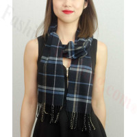 Woven Cashmere Feel Plaid Scarf Black / Blue