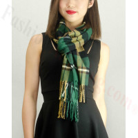 Woven Cashmere Feel Plaid Scarf Z18 Green
