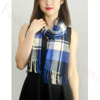 Woven Cashmere Feel Plaid Scarf Z18 Blue