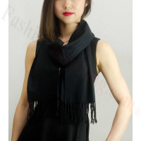 Solid Cashmere Feel Scarf Black