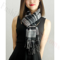 Woven Cashmere Feel Plaid Scarf Z22 Black / Grey