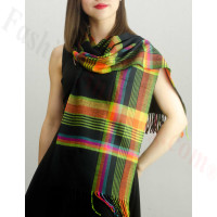 Woven Cashmere Feel Plaid Scarf Z23 Black/Rainbow