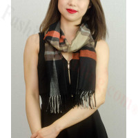 Woven Cashmere Feel Plaid Scarf Z26 Black / Brown