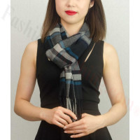 Woven Cashmere Feel Plaid Scarf Z27 Black/Blue