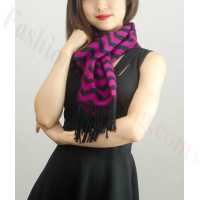 Woven Cashmere Feel Zigzag Design Scarf Hot Pink
