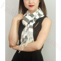 Woven Cashmere Feel Strip Scarf Z37 Grey/White