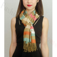 Woven Cashmere Feel Strip Scarf Z37 Camel