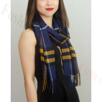 Woven Cashmere Feel Plaid Scarf Z39 Navy