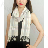 Woven Cashmere Feel Plaid Scarf Z39 Grey/Beige