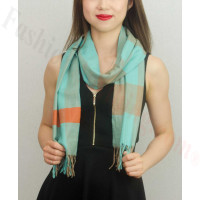 Woven Cashmere Feel Plaid Scarf Z39 Turquoise