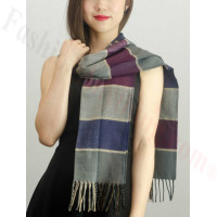 Woven Cashmere Feel Plaid Scarf Z40 Purple/Grey