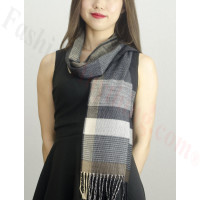 Woven Cashmere Feel Plaid Scarf Z40 Grey/Brown