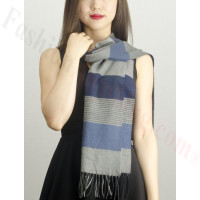 Woven Cashmere Feel Plaid Scarf Z40 Grey/Blue