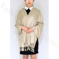 Silky Soft Solid Pashmina Scarf Khaki NEW