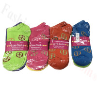 Women Peace Print Low Cut Socks DZ (12 Pairs) - Assorted Color