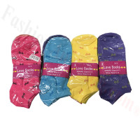 Women Bow Tie Print Low Cut Socks DZ (12 Pairs) - Assorted Color